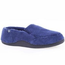 isotoner Mens Terry Moccasin SLIPPER Memory Foam Indoor outdoor Comfort Navy 8089056a9f72
