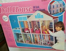 Vintage Blue Box Doll House With Furniture Barbie Scale Original Box