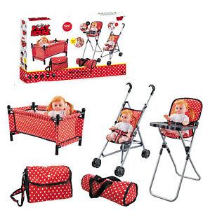 Baby Play Set 5 Pcs Doll Diaper Bag Stroller Feeding Chair Cot Carrier Bag Kids