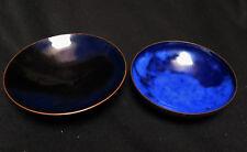 7283:2 schöne Kupfer-Emaille Schalen,blau,1. mit Standfuss,bis 12,5cmØ,gebraucht