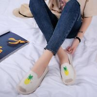 Women Causal Shoes Slip-on Lady Flats Pineapple Canvas Leisure Loafer Shoes