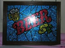 "Vintage ""Glitter Art"" Beer Sign ""Beer 5 cents"" By A&F Prod #AFC031"