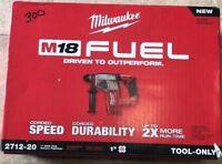 "Milwaukee M18 FUEL 18V Li-Ion 1"" SDS Plus Rotary Hammer 2712-20 (Bare Tool) New"