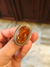 """Vtg .925 Sterling Silver Large Oval 1"""" AMBER Solid Ring Size 6.5 - Weight 16.1g"""