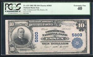 1902 $10 THE COMMERCIAL NB OF ESSEX, IA NATIONAL CURRENCY CH. #5803 PCGS EF-40