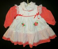Vintage Cradle Togs Baby Girl Red White Pinafore Christmas Holiday Dress Size 2T
