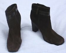 Via Spiga 8M Brown Suede Leather Square Toe Ankle Booties Boots Heel