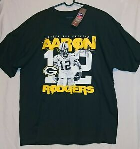 NWT Aaron Rodgers 12 Green Bay Packers NFL Reebok XL Green T-Shirt Image