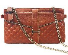 BROWN ZIPPERS & QUILTED GENUINE LEATHER  handbag clutch,shoulder bag,wristlet