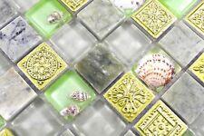 Mosaïque translucide cristal coquille pierre verre vert mur 82C-0502_b |1 plaque