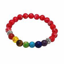 Chakra Bracelet RED by ZILA COMPANY 7 Gemstone Crystal Reiki Healing Yoga Hamsa