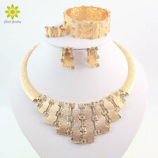 18K Gold Plated Rhinestone Necklace Earring Bracelet Ring African Jewelry Sets