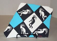 Argyle Design Kokopelli/Southwest Painting on Flagstone by Elissa Shakal W/Easel