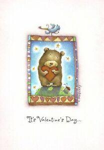 Happy Valentine's Day Brown Bear & Bluebird Hugs Hearts Hallmark Card - Set of 8