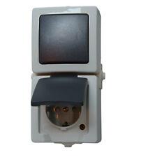 Kopp Aus-/Wechselschalter-Steckdosenkombination Nautic Schalter Elektro grau neu