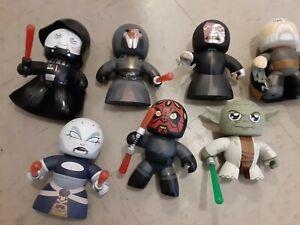 LOT of 7 Star Wars Mighty Muggs 2007 Vinyl Figures Yoda Dukoo VADER Emperor maul