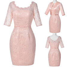 2IN 1PinkFree Jacket Vintage Formal Lace Mother Of The Bride Wedding Guest Dress