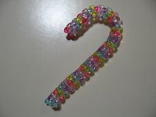 """3.5"""" Candy Cane: Beaded Ornament (Pastel Colors) NEW handmade"""