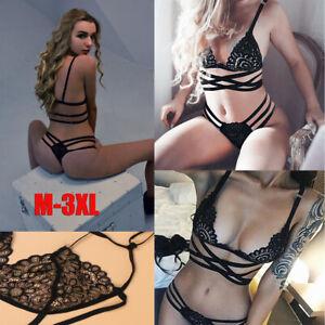 Women Sexy Lingerie Set Lace Top Bra Panties Thong Underwear Sleepwear Babydoll