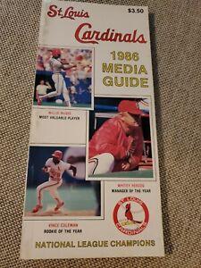 1986 St Louis Cardinals Media Guide - MLB Baseball