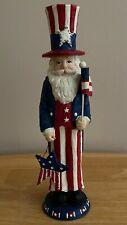 "10"" Tall  Patriotic Santa Claus Red White Blue Christmas Decoration Decor"
