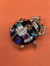 Vintage Enamel Crystal Bug Brooch