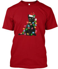 Black Cat Christmas Light Funny C Hanes Tagless Tee T-Shirt