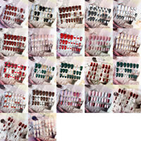 24Pcs Fashion False Nails UV Acrylic Gel Full French Fake Nails Art Tips Tools