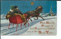 AX-268 - Horse and Sleigh, Artist Signed Bernhardt Wall, 1907-1915 Postcard
