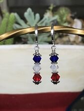 "Patriotic Red White & Blue 925 Silver Plated Leverback Earrings - 1.5"" Length"