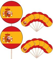 Spain Spanish Flags Party Food Cup Cakes Picks Sticks Decorations Toppers