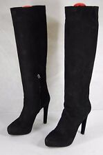 SUPPER BEAUTIFUL!!! PRADA HIGH  HEEL BLACK SUEDE KNEE HIGH BOOTS EU 38.5 US 8
