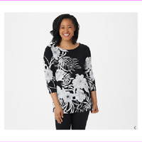 Dennis Basso Printed Caviar Crepe 3/4-Sleeve Tunic Black, Medium, A350763