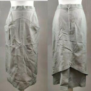 Vintage Melchinger Women Vintage Skirt Grey Real Leather Y2K Blogger Midi UK 10