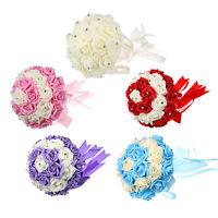 Rose Silk Flower Handmade Satin Rhinestone Bridal Wedding Bouquet Decor 5COLOUR