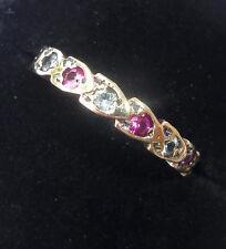 Vintage 9ct Gold Ruby & White Topaz Half Eternity Ring, Size O, US 7 1/4