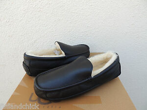UGG ASCOT WIDE BLACK LEATHER/ SHEEPWOOL SLIPPERS, US 10/ EUR 43 ~FITS SMALL ~NEW