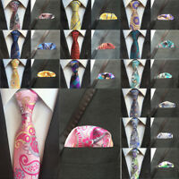 Men Silk Paisley Flower Geometric Neckties Pocket Square Handkerchief Ties Set