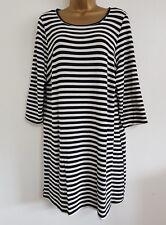 NEW Plus Size 16-32 Black & White Striped Monochrome Tunic Top Dress Blouse