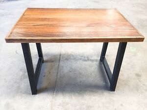 NEW Rustic wood cafe table, medium brown table top, black metal legs.