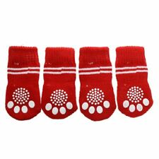 Red White Nonslip Christmas Tree Print Pet Dog Knitted Socks D3K7