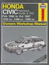 HONDA CIVIC INCL HATCHBACK , SHUTTLE & CRX 1984 - 1987 WORKSHOP MANUAL * NEW *