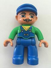 *NEW* Lego DUPLO Male TRAIN Engineer BLUE Overalls GREEN Top BLUE CAP Moustache