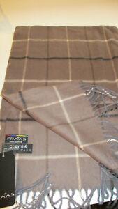 NWT $42 Cashmink  Fraas Acrylic TAUPE/WHI/BLK Plaid Fringe Scarf  CASHMERE FEEL