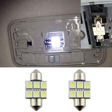 """2 White 6-SMD LED Bulbs For Car Interior Dome Lights, 1.25"""" 31mm DE3175 DE3022"""