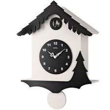 AMS Quarz Horloge Murale Horloge Pendule Coucou Boîtier en bois blanc noir Neuf