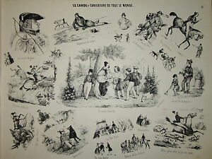 CARICATURE sur blanc LE CHAOS EUGENE FOREST AUBERT CHEVAUX 1840 pl 15 ROMANTISME