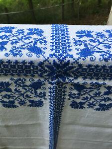 CROSS-STITCH Tablecloth: BLUE CORNFLOWER motif/Corning Ware inspired HANDMADE