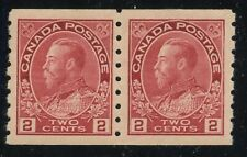 Canada 1912 KGV Admiral 2c rose red Coil Pair #127ii ml/nh