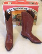 Vintage Women's Justin Cowboy Boots Sz 6.5 Brown Iguana Lizard Exotic Tall USA